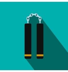 Nunchaku weapon flat icon vector image