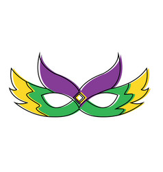 Ornate mardi gras carnival mask with feathers vector