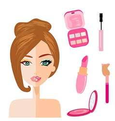 Portrait of woman half natural half with make up vector