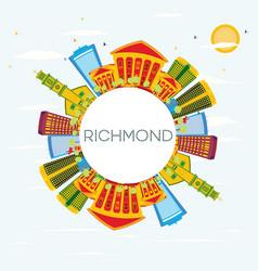 richmond skyline with color buildings blue sky vector image