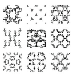 Seamless abstract patterns set of monochrome vector