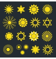 Set of abstract yellow sun icons with various rays vector