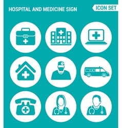Set of round icons white hospital rescue vector
