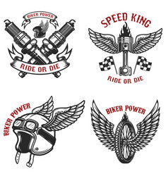 Set of vintage motorcycle emblems on white vector