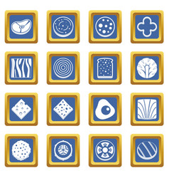 Slice food ingredient icons set blue vector