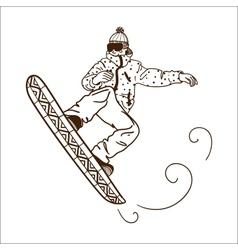 Snowboarding jumping man vector