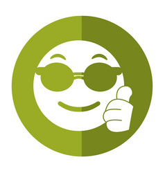 Sunglasses and thumb emoticon style icon shadow vector
