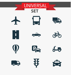 transport icons set collection of cab road sign vector image vector image