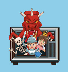 Videogames characters cartoons on old tv vector