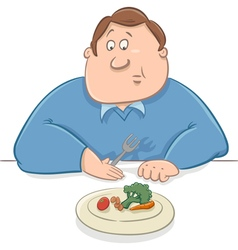 Sad man on diet cartoon vector