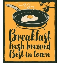 breakfast with a frying pan and fried eggs vector image