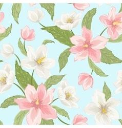 Sakura magnolia hellebore flowers seamless pattern vector image