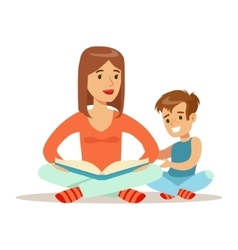 Mom And Son Reading Book Loving Mother Enjoying vector image