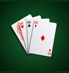Poker hand cards three of a kind combination vector