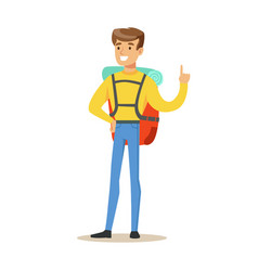 Young man tourist standing with backpack colorful vector