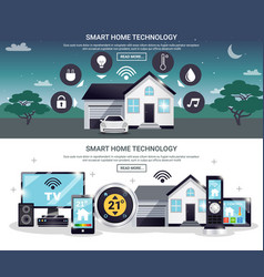 colored smart home banner set vector image