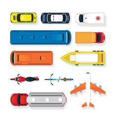 Vehicles cars and transportation in top or above vector
