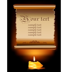 Old paper scroll with candle vector