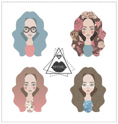Set of hipster girls vector