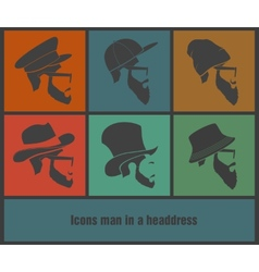 colorful Icons man in a headdress vector image