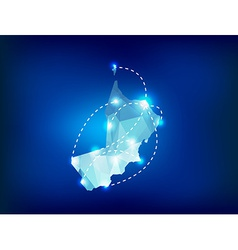 Oman country map polygonal with spot lights places vector
