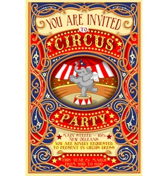 Poster invite for circus party with elephnant vector