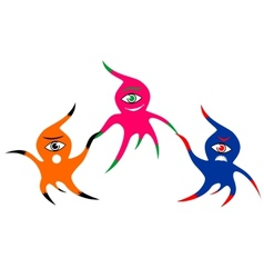Three cheerful colorful one-eyed monsters vector