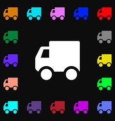 Delivery truck icon sign lots of colorful symbols vector