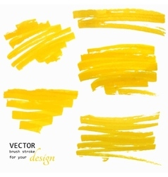 Hand-drawing orange textures of brush strokes vector
