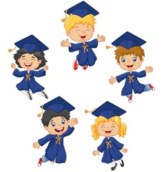 Cartoon little kids celebrate their graduation on vector