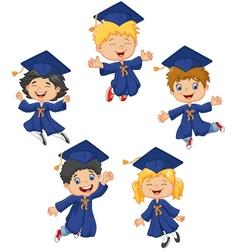 Cartoon little kids celebrate their graduation on vector