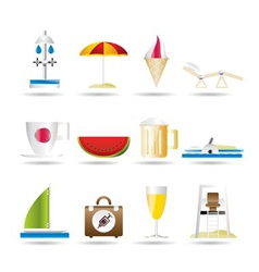 Beach and holiday icons vector