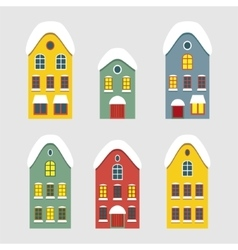 Set of images of winter dutch house vector