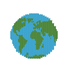 Knitted earth globe made of wool winter version of vector