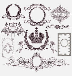 Set of vintage royal element vector