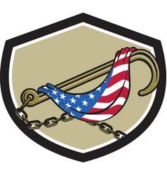 Towing j hook flag draped shield retro vector