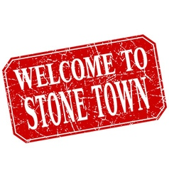 Welcome to stone town red square grunge stamp vector