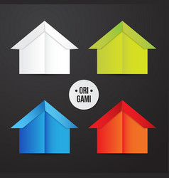 Paper origami house icon colorful origamy vector
