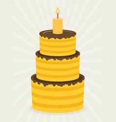 Birthday cake sweet cupcakes cartoon flat design vector