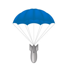 Bomb at blue parachute vector