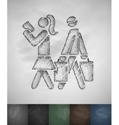 Buyers shopping icon hand drawn vector