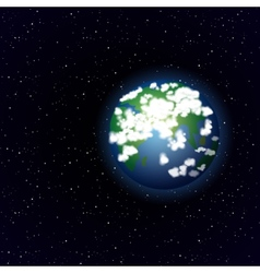 Cartoon Earth in open space vector image vector image
