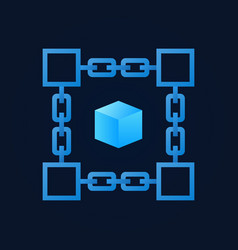 chain with blue cube inside icon vector image vector image