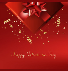 Decorative gift box with red bow valentines day vector