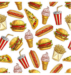 fast food meal pattern vector image