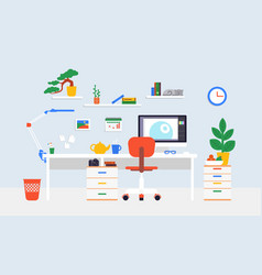 Flat workspace concept vector