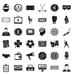 fortune icons set simple style vector image vector image