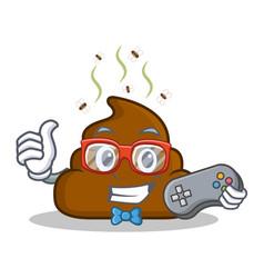 Gamer poop emoticon character cartoon vector