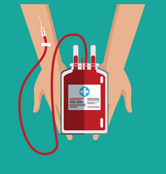 hand holding iv bag blood care vector image