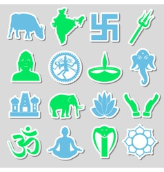 Hinduism religions symbols set of stickers eps10 vector